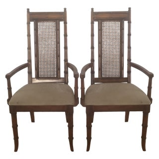 Martinsville Bamboo Captain's Chairs - A Pair