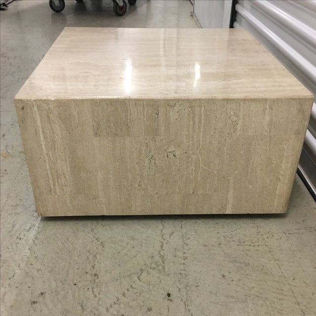 Rolling Travertine Cube Side Table - Image 3 of 8