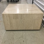 Image of Rolling Travertine Cube Side Table