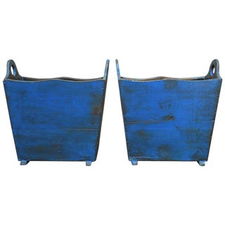 Painted Wooden Harvest Crate Bins - A Pair