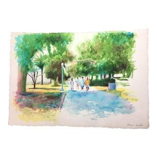 Unframed Watercolor of Santa Monica California