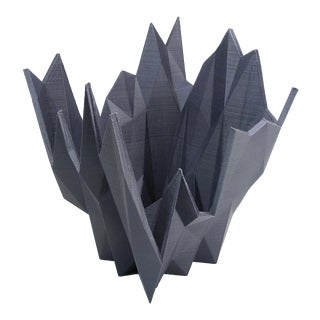 Abstract Polygon Modern Planter / Spiked Dish, Gray