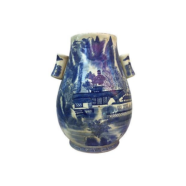 Image of Chinese Blue & White Willow Vase