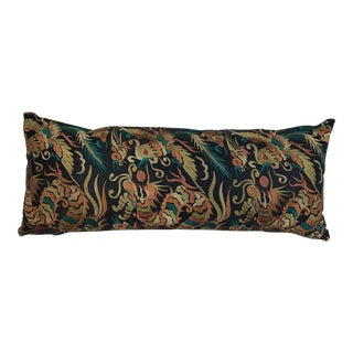 Asian Silk Embroidered Dragon Phoenix Pillow
