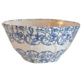 Rare Monumental 19th Century Sponge Ware Pottery Bowl