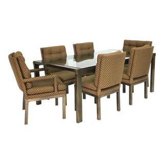John Widdicomb Mid-Century Bronze & Glass Dining Set