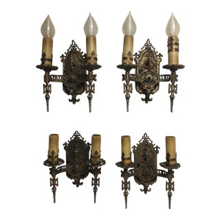 Art Deco Gothic Wall Sconces - Set of 4