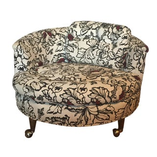 Round Floral Club Chair on Casters