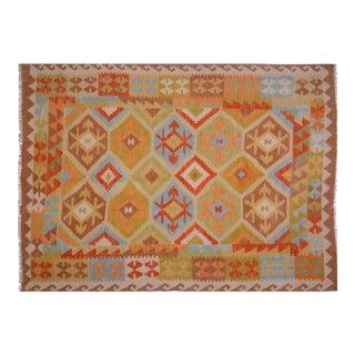 Vintage Maimana Wool Kilim Rug - 4'9″x6'8″