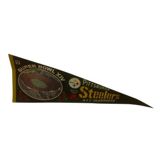 1980s Vintage NFL Pittsburgh Steelers AFC Champions Super Bowl Team Pennant