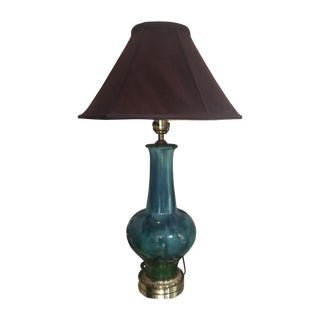 Mid Century Turquoise Drip Glaze Lamp