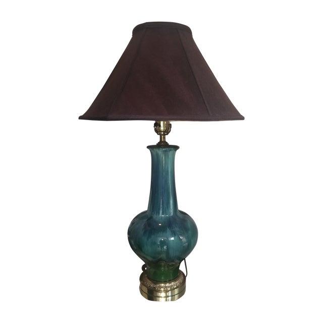 Image of Mid Century Turquoise Drip Glaze Lamp
