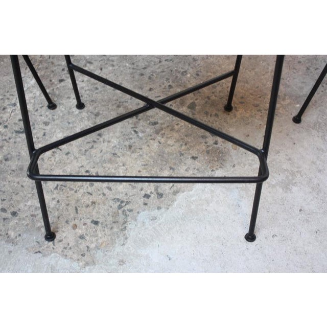 Set of Four Rush and Iron Stools by Arthur Umanoff for Raymor - Image 8 of 11