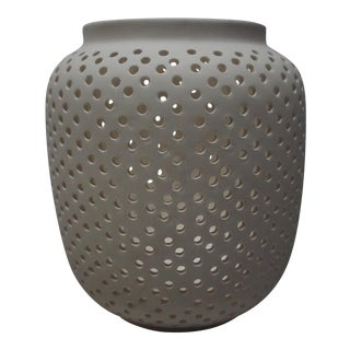 West Elm White Perforated Ceramic Vessel