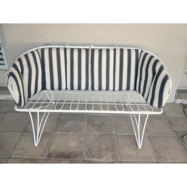 Homecrest Patio Loveseat W Striped Cushions Chairish