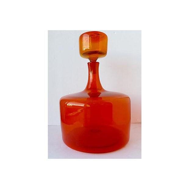Image of Large Orange Handblown Art Glass Bottle