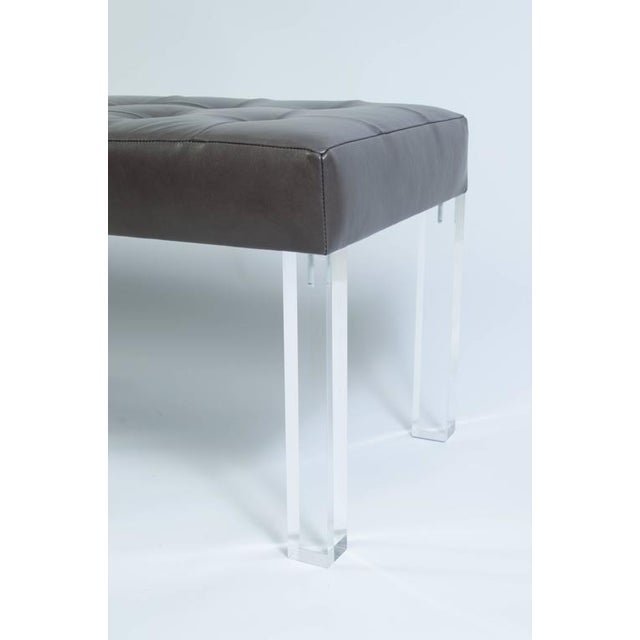 Image of Lucite Prism Bench in Gunmetal Leather with Blind Tufting by Montage