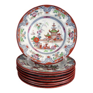 Antique Chinoiserie Plate, 8 Available