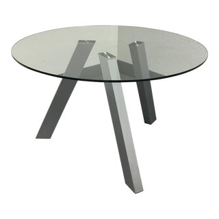 Contemporary Glass & Tripod Metal Dining Table