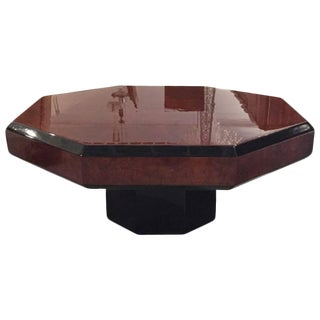 French Art Deco Octagonal Burl Coffee table