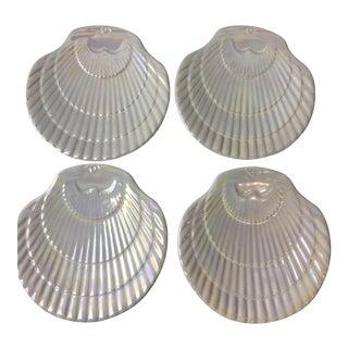 Shell Iridescent Ceramic Plates - Set of 4