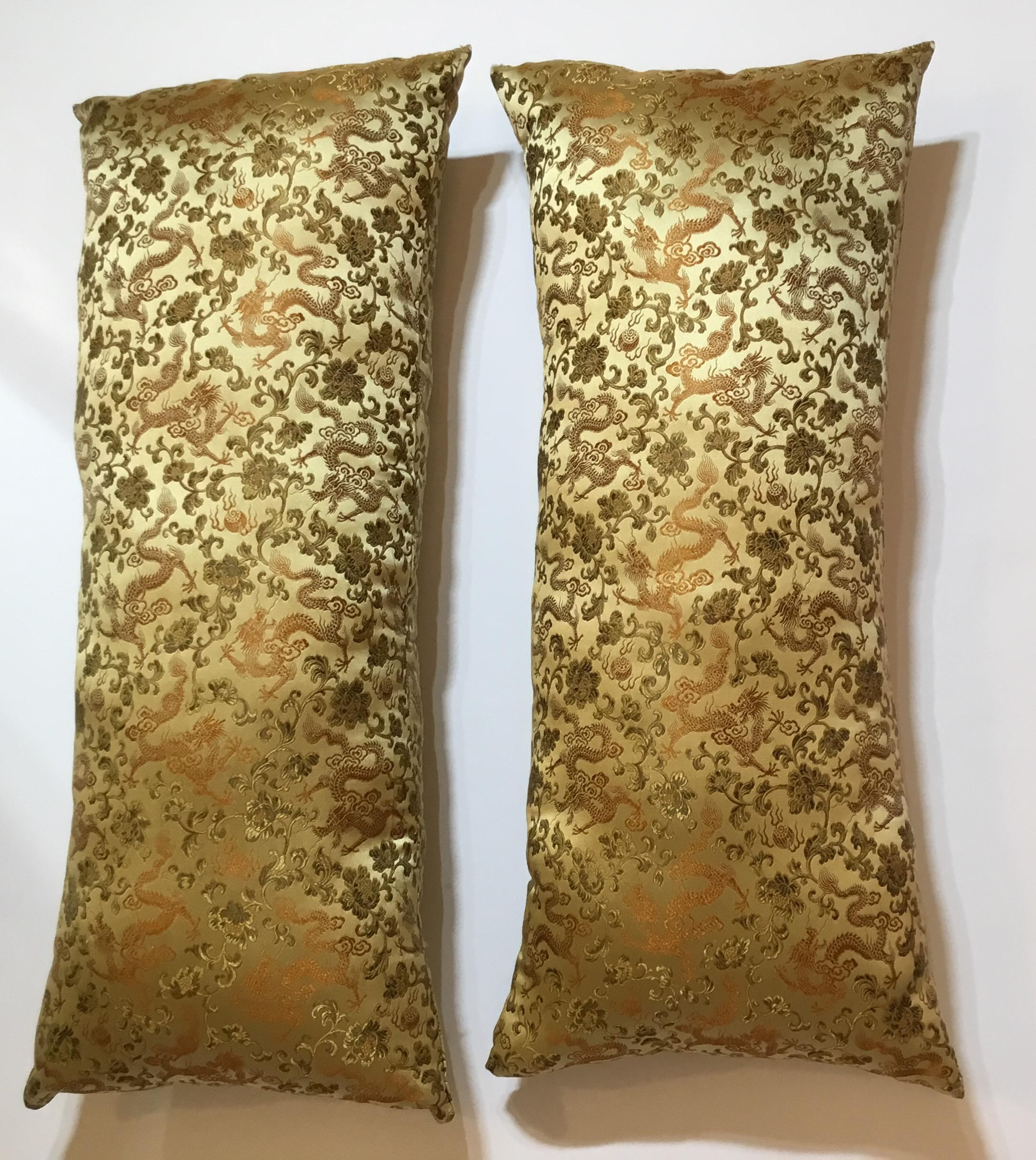 Chinese Silk Pillows A Pair