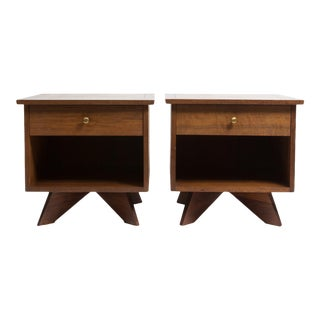 Pair of George Nakashima for Widdicomb, walnut bedside tables