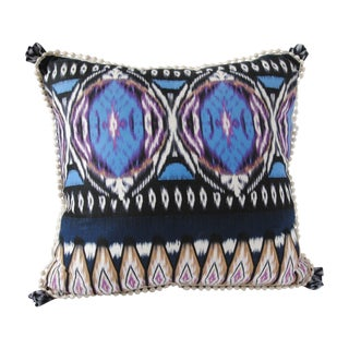 Custom Ikat Pillow with Trim