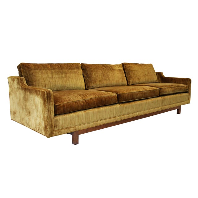 "Image of Mid-Century Modern 101"" Sofa W Solid Walnut Base"