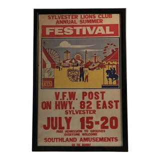 Vintage Sylvester Lions Club Annual Summer Festival Poster