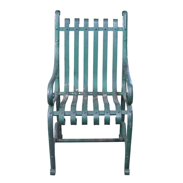 Vintage Green Iron Garden Chair - Image 1 of 4