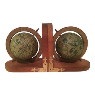 Vintage Italian Olde World Map Globe Bookends - A Pair