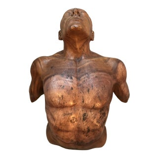 Handcarved Teak Male Torso Sculpture