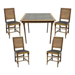 Mid-Century Norquist Faux Bamboo & Cane Folding Game Table & Chairs