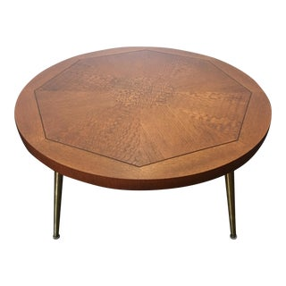 1954 Vintage Lane Walnut Parquetry Coffee Table with Brass Legs