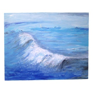 Cerulean Blue Impressionist Seascape Painting