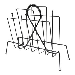 Mid-Century Modern Atomic Wire Metal Black Magazine Rack