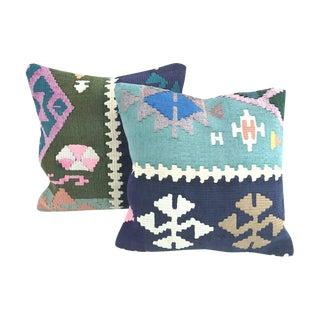 Blue Geometric Turkish Kilim Throw Pillows - A Pair