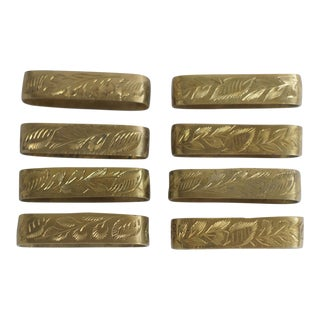 Brass Hand-Carved Elongated Napkin Rings - Set of 8