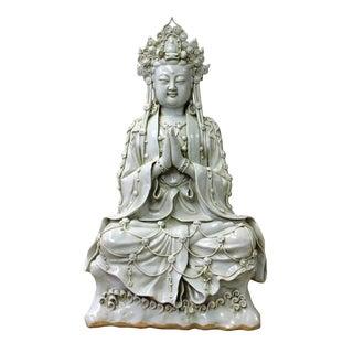 Vintage Chinese Tong Style Off White Porcelain Kwan Yin Tara Bodhisattva Statue