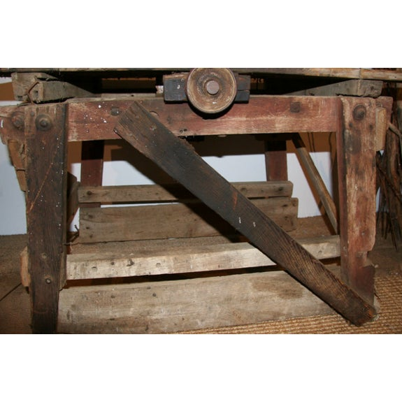 Antique Primitive Saw Table and Side Table - Image 3 of 6
