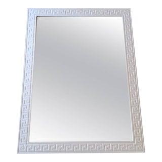 Vintage White Wood Greek Key Mirror