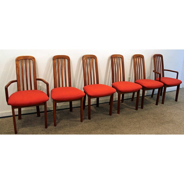 Set of 6 Mid-Century Danish Modern Ansager Mobler Spindle Teak Dining Chairs - Image 3 of 11