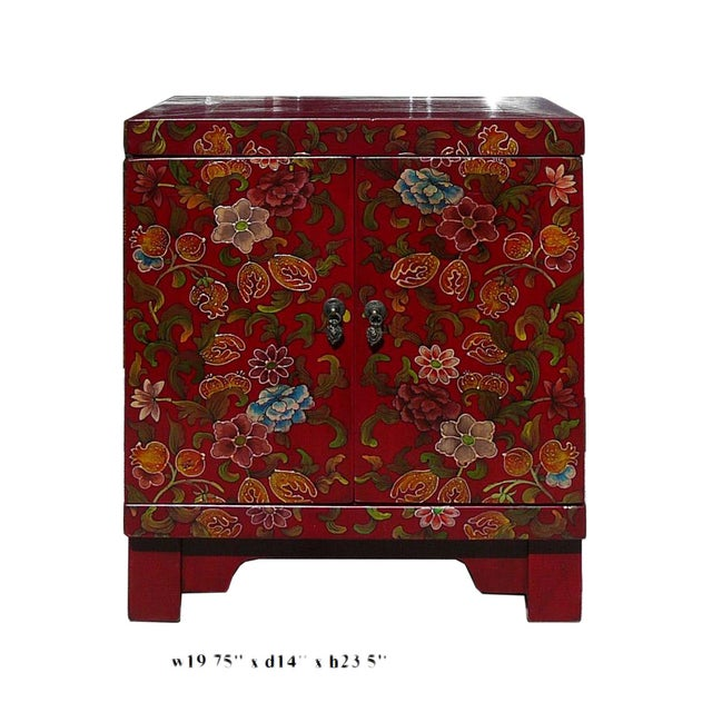 Chinese Red Lacquer Color Flowers End Table - Image 3 of 3