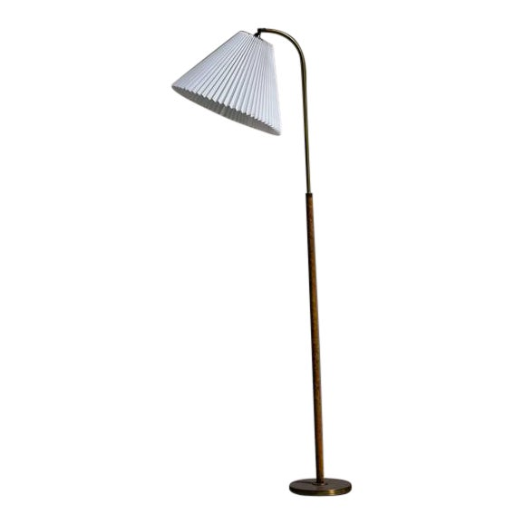 Image of Danish Brass with Woven Leather Height-Adjustable Floor Lamp, 1930s