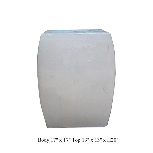Image of Off White Square Chinese Ceramic Garden Stool