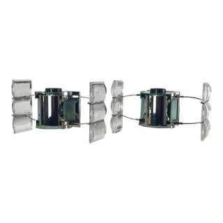 Post-Modern Chrome & Glass Sconces - A Pair