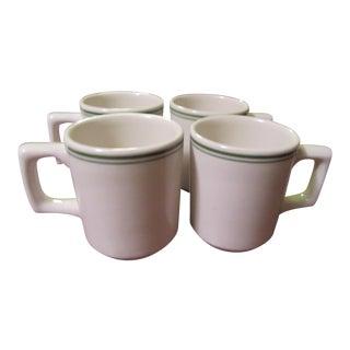Vintage Buffalo Niagara China Coffee Mugs, White With Green Stripes - Set of 4