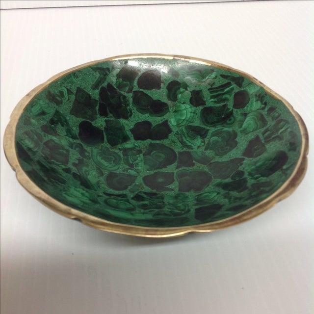 Round Polished Genuine Malachite & Bronze Bowl - Image 2 of 5