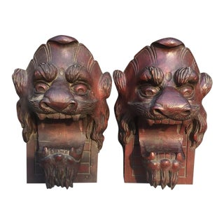 Antique Hand Carved Lion Balustrade Embellishments - A Pair